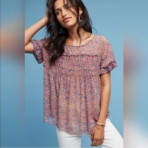 Anthropologie Deletta Robyn Smocked Floral Tunic